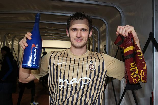 James Hanson scored the decisive goal for Bradford against Aston Villa