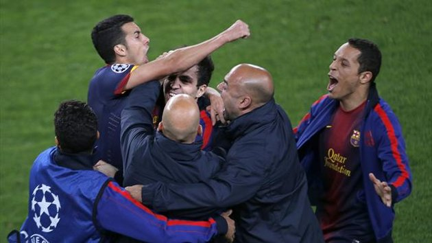 Barcelona celebrate making it to the Champions League semi-finals