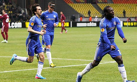 Chelsea's Victor Moses celebrates scoring in his clubs 3-2 defeat at Russian club Rubin Kazan