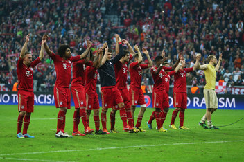 The Bayern Munich players celebrate their 4-0 victory over Barcelona in the Champions League semi-final