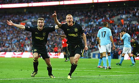 Wigan's Ben Watson celebrates his winning goal in their 1-0 FA Cup final victory over Manchester City