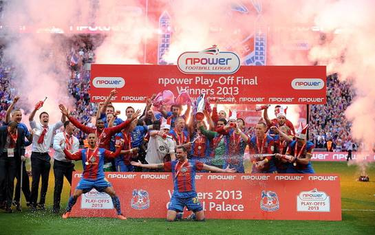 Crystal Palace celebrate after clinching promotion to the Premier League