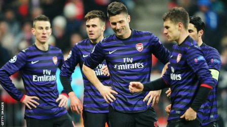 Bayern Munich lost against Arsenal 0-2, but still goes to quarter finals thanks to the win 1-3 in the first leg