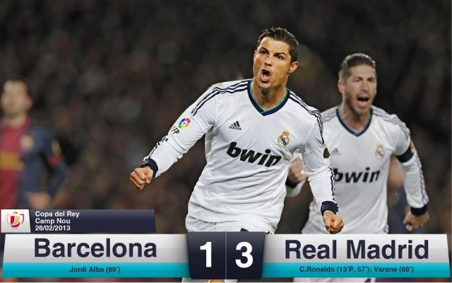 "Real Madrid won 1- 3 against Barcelona, and its now the ""Copa del Rey"" Finalist"